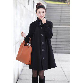 Charming Stand Collar Solid Color Splicing Design Worsted Wommen's Coat