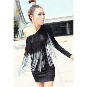 Charming Sexy One-Shoulder Tassels Embellished Women's Slimming Fit Dress - BLACK BLACK