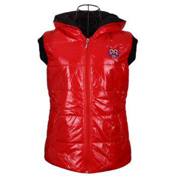 Fashionable Hooded Zipper Design Sleeveless Keeping Warm Casual Multicolor Women's Waistcoat - RED RED