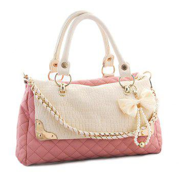 Casual PU Leather Chain Pearls Bow Design  Women's Tote