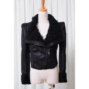 Stylish Lapel Neck Solid Color Long Sleeves Women's Imitated Fur Thicken Coat