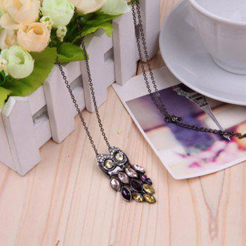 Chic Retro Style Colorful Crystal Embellished Owl Shape Women's Sweater Chain Necklace
