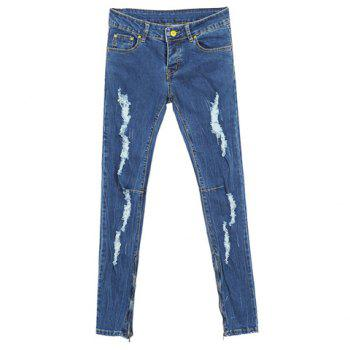 Modern Style Abrasion Design Solid Color Slim Fit Denim Women's Pencil Pants