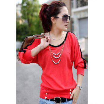 Casual Style Candy Color Openwork Design Long Sleeve Cotton Women's T-Shirt - WATERMELON RED WATERMELON RED