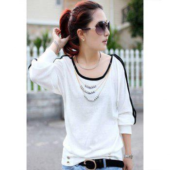Casual Style Candy Color Openwork Design Long Sleeve Cotton Women's T-Shirt - WHITE ONE SIZE