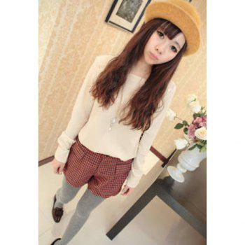 Stylish Style Square Neck Puff Sleeves Button Embellished Women's Shirt