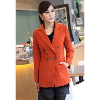 Stylish Lapel Neck Long Sleeves Solid Color Double-Breasted Embellished Women's Slimming Fit Coat