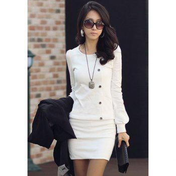 Mini Long Sleeves Sheath Tunic Dress - WHITE M