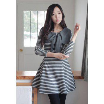 Preppy Style Large Bowknot Design Round Neck Stripe Print Long Sleeve Slimming Women's Dress