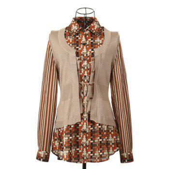 British Style Shirt Collar Checked Pattern Long Sleeves Faux Twinset Splicing Design Cotton Thread Women's Cardigan