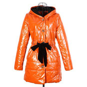 Trendy Lace Up Long Sleeve Blue Hooded Women's Quilted Coat
