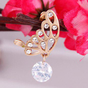 Chic Graceful Rhinestone Embellished Butterfly Shape Women's Earrings