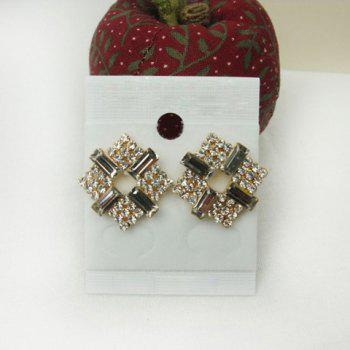 Exquisite Sweet Style Rhinestone Embellished Square Shape Women's Stud Earrings