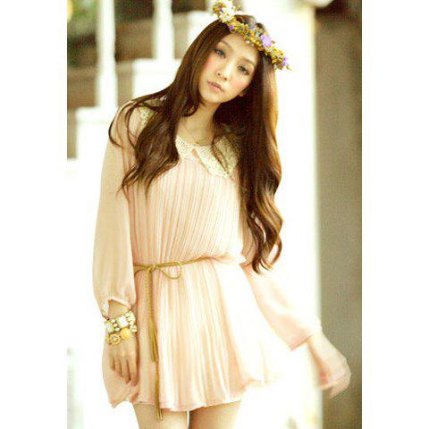 Charming Polo Neck Solid Color Ruffle Splicing Design 3/4 Sleeve Chiffon Women's Dress - PINK ONE SIZE