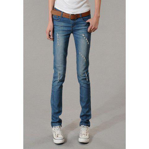 Fashionable Broken Hole and StoneWash Design Slimming Denim Pencil Women's Pants