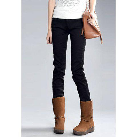 Fashionable Simple Design Solid Color Slimming Thicken Fleece Denim Women's Pencil Pants - BLACK 31