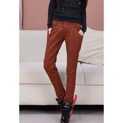 Fashionable Color Block Single Breasted Design Thicken Fleece Women's Harem Pants