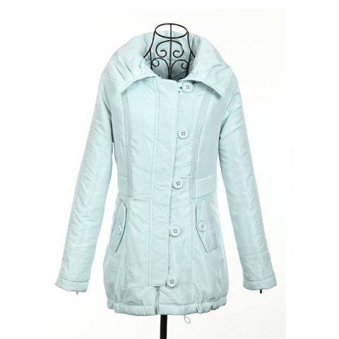 Modern Style Lapel Hooded Splicing Long Sleeve Cotton Padded Women's Coat