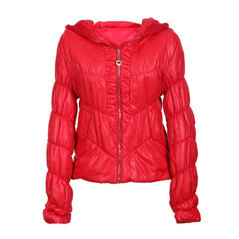 Modern Style Hooded Long Sleeves Special Grain Solid Color Cotton Blend Women's Padded Jacket - RED ONE SIZE