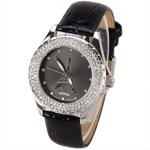 Astina Quartz Watch with Diamonds Dots Indicate Round Dial Leather Watch Band for Women (Black) a628 quartz watch with 12 small diamond dots indicate leather watch band leopard pattern dial for women black