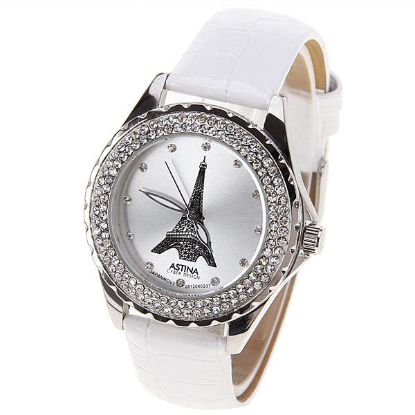 Astina Quartz Watch with Diamonds Dots Indicate Round Dial Leather Watch Band for Women (White)