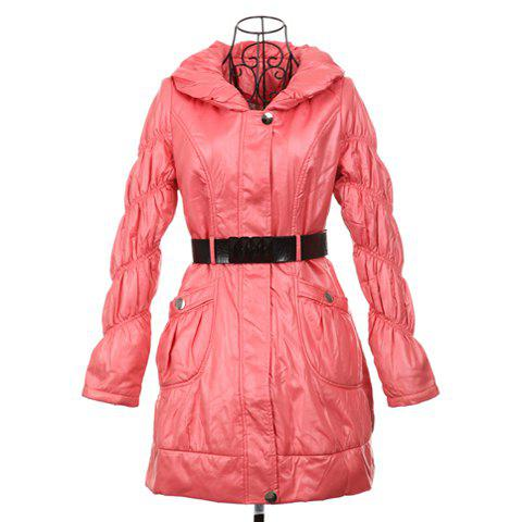 Ladylike Turndown Collar Long Sleeves Women's Wadded Coat(With Belt) - PEACH RED ONE SIZE