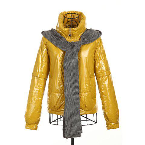 Modern Style High Collar Hooded Scarf Design Long Sleeve Cotton Padded Women's Coat - YELLOW ONE SIZE