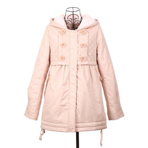 Sweet Style Scoop Neck Hooded Double Breasted Pink Color Long Sleeve Cotton Padded Women's Coat