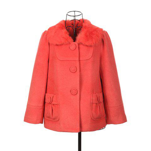 Modern Style Fur Lapel Pocket Design Long Sleeve Worsted Women's Coat - WATERMELON RED ONE SIZE
