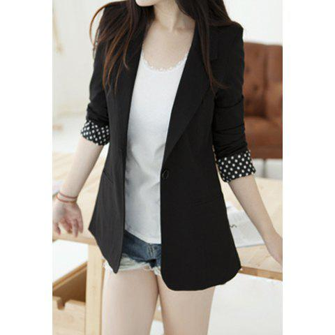 Elegant Lapel Slimming Solid Color Splicing Design Polka Dot Long Sleeve Cotton Blend Women's Blazer - BLACK ONE SIZE