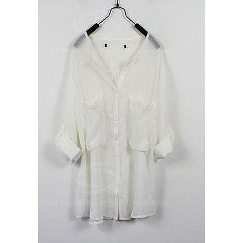 New Arrival Solid Color Chiffon Loose-Fitting Shirt For Women - WHITE S