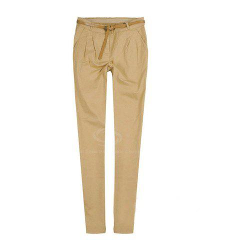 Casual and Mix-Matched Pencil Trousers For Female (Belt Attachment) - LIGHT KHAKI M