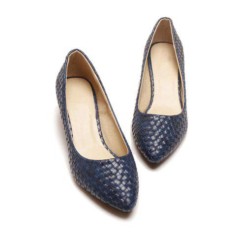 Career Stylish Solid Color Weaving and Point Head Design Women's Pumps - BLUE 38