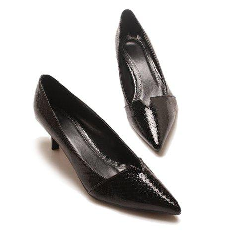 Sexy Career Stylish Snake Veins Point Head and Patent Leather Design Women's Pumps - BLACK 37