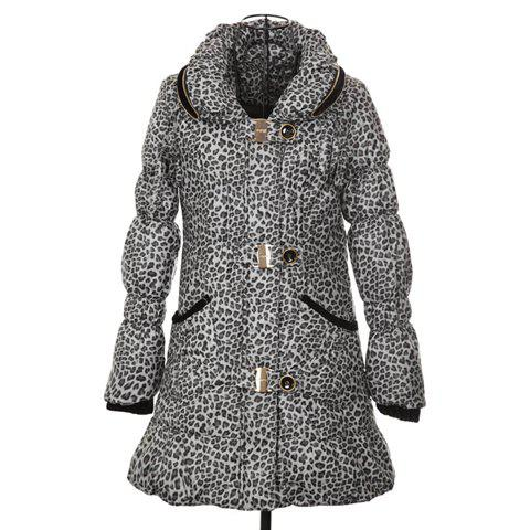 Stylish Stand Neck Long Sleeves Leopard Print Long Style Warm And Thicken Cotton Blend Women's Padded Coat