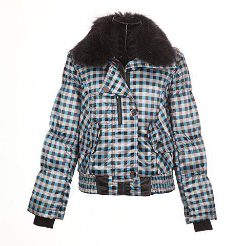 Stylish Stand Neck Long Sleeves Faux Fur Decorated Collar Tartan Print Cotton Blend Women's Padded Jacket - CHECKED ONE SIZE