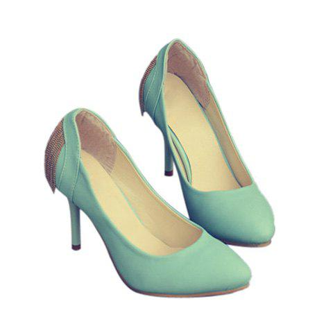 Party Stylish Metal Chain and Pure Color Design Women's Pumps - BLUE 35