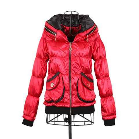 Stylish Polo Neck Long Sleeves Color Match Warm And Thicken Cotton Blend Women's Padded Jacket - RED ONE SIZE