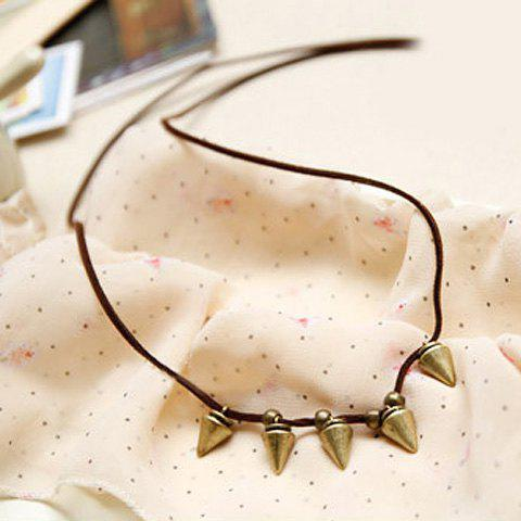 Sweet Retro Style Rivet Embellished Women's Sweater Chain Necklace