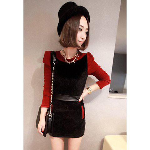 Elegant Scoop Neck Splicing Design Blocking Color Beam Waist Long Sleeve Imitation Horsehair Women's Dress - RED ONE SIZE