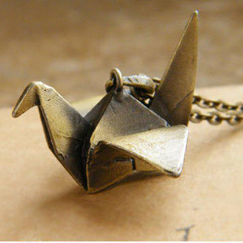Sweet Retro Style Paper Crane Shape Embellished Women's Sweater Chain Necklace - AS THE PICTURE