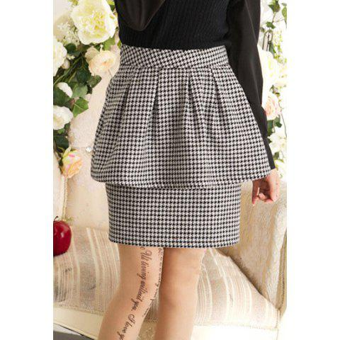 Casual Houndstooth Style Flounce Hem Splicing Middle-Rise Cotton Blend Women's Skirt - BLACK M