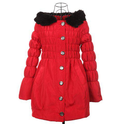 Modern Style Scoop Neck Hooded With Plush Long Sleeve Cotton Padded Women's Coat - RED ONE SIZE