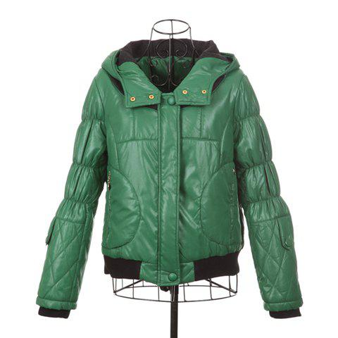 Casual Style Scoop Neck Worsted Splicing Hooded Long Sleeve Cotton Padded Women's Coat - GREEN ONE SIZE