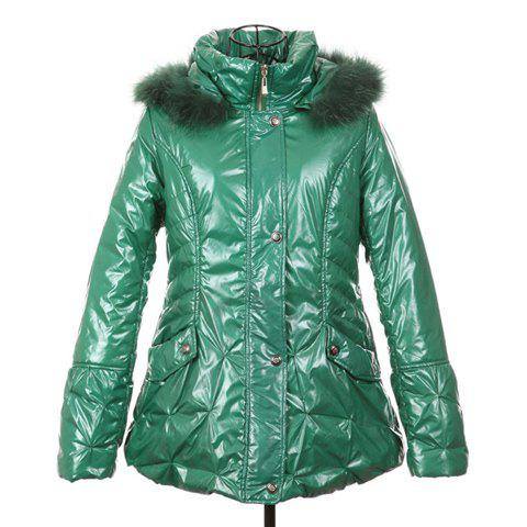 Casual Style Scoop Neck Hooded Long Sleeve Cotton Padded Women's Coat - GREEN ONE SIZE