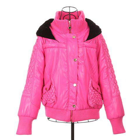 Sweet Stand Neck Long Sleeves Hooded Double Collar Woolen Yarn Splicing Cotton Blend Women's Padded Jacket - ROSE ONE SIZE