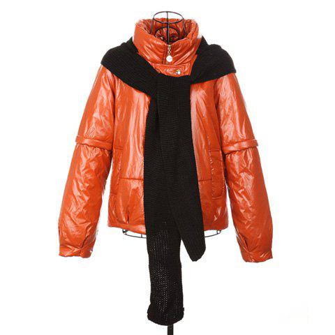 Stylish Stand Neck Long Sleeves Solid Color With Hooded Scarf PU Leather Women's Padded Jacket - JACINTH ONE SIZE