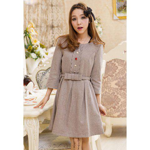 Preppy Style Scoop Neck 3/4 Sleeves Buttons Decoration Big Hem Woolen Blend Women's Dress - GRAY S