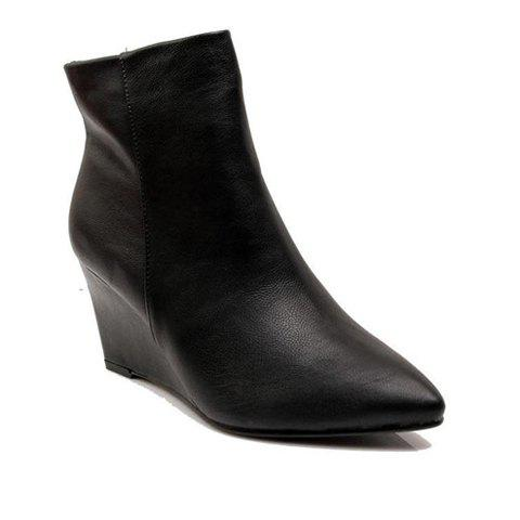 Laconic Vintage Casual PU Solid Color and Wedge Heel Design Women's Short Boots - BLACK 37
