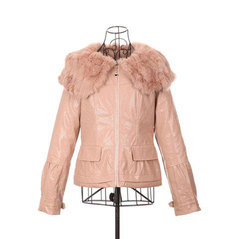 New Style Zipper Design Long Sleeves with Imitated Pink Imitated Leather Women's Short Coat